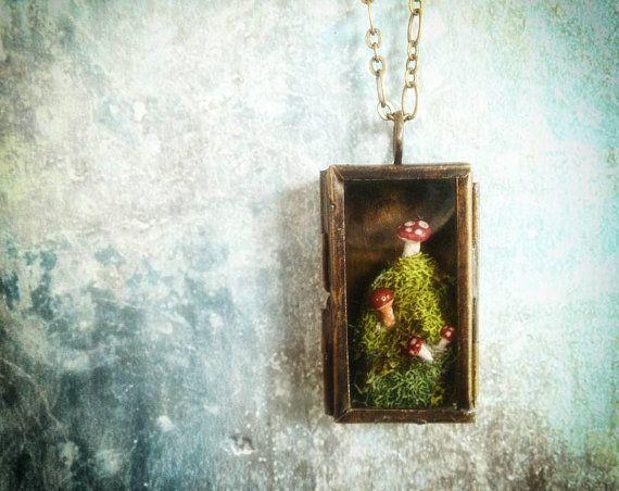 Mushroom Miniature Terrarium Necklace  A tiny by RenataandJonathan, $125.00