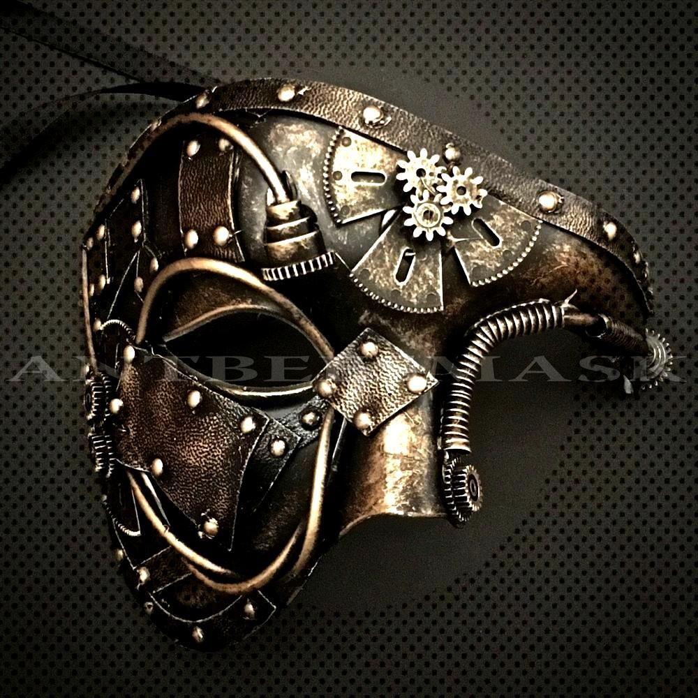 NEW Steampunk Halloween Mask Faux Leather Gear Pipe Black Gold Masquerade Mask Party Clothes DIY -
