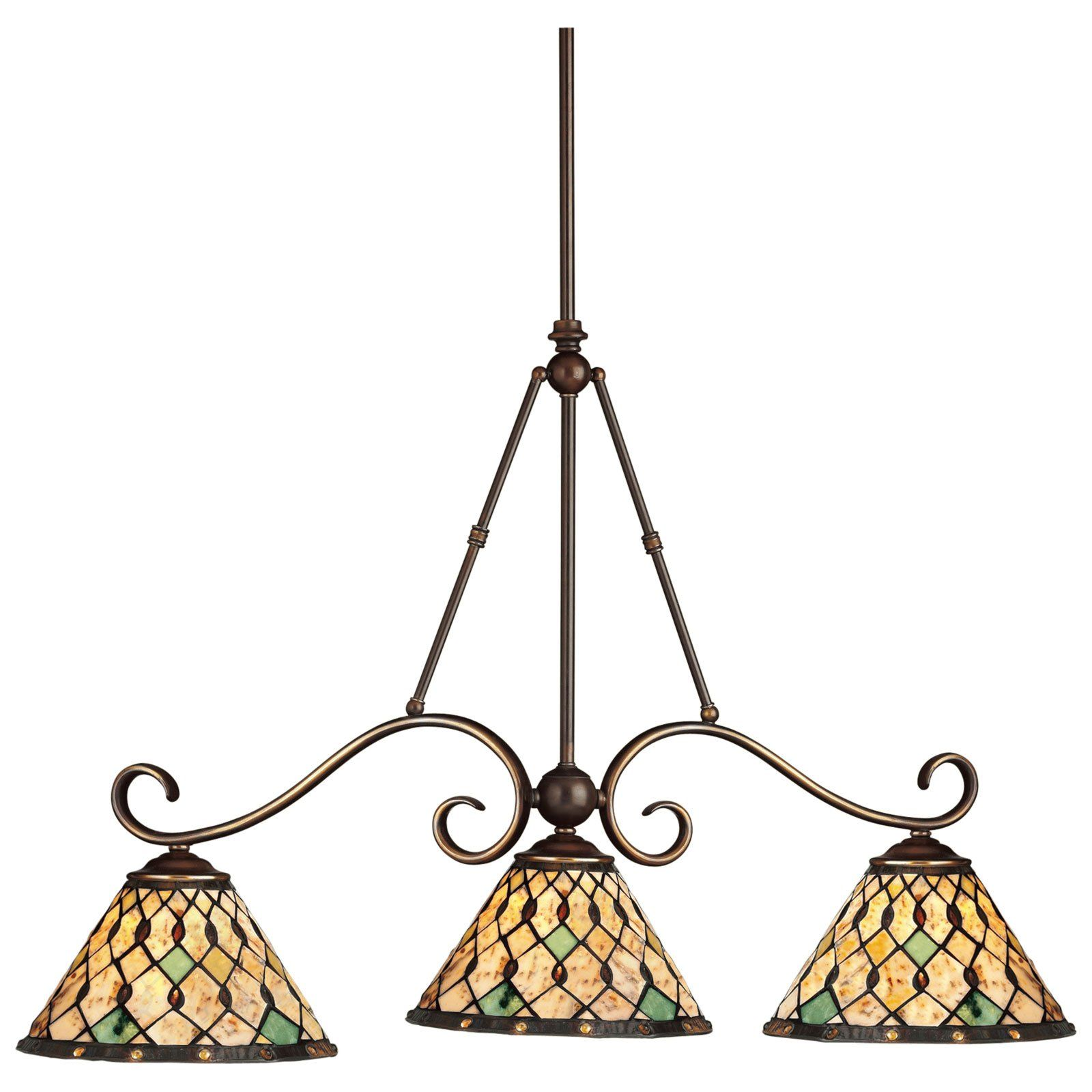 Kichler pool table three lights incandescent island light oiled bronze 36 inches 790 00