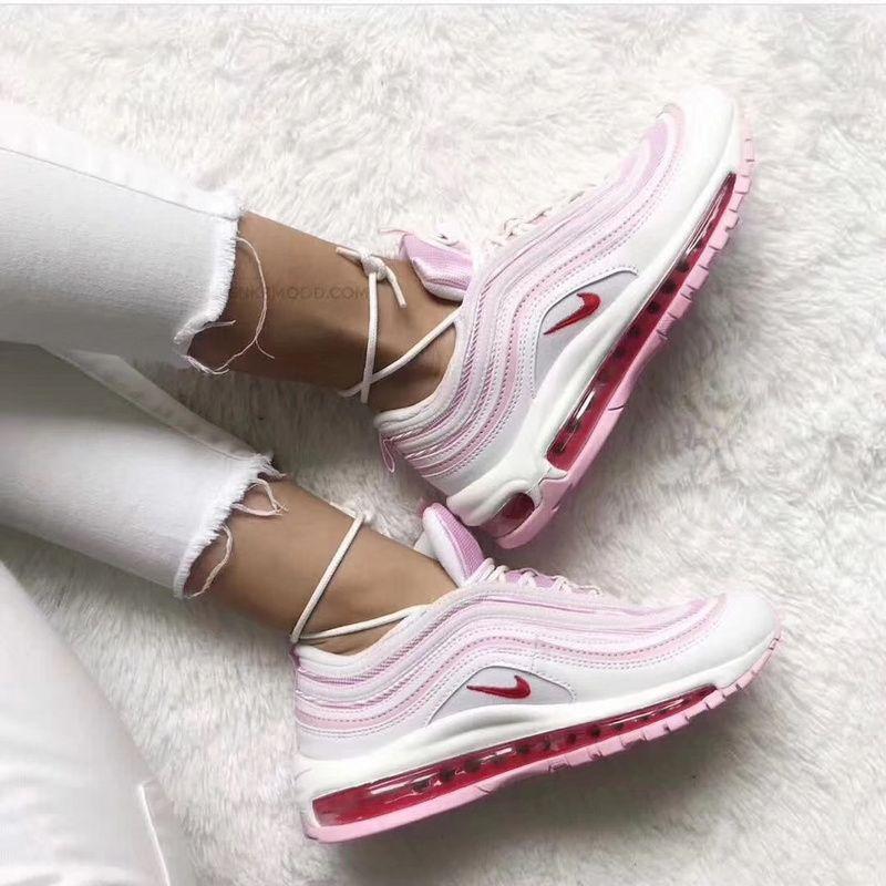 2018 Real Women Nike Air Max 97 Peach Blossom Red White Nike Air Max 97 Sneakers Fashion Nike Air Max