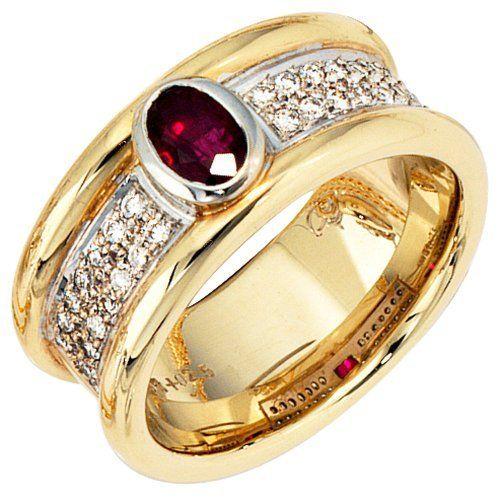 Damen Ring Gelb Weiß Kombiniert 14 Karat 585 Bicolor 1