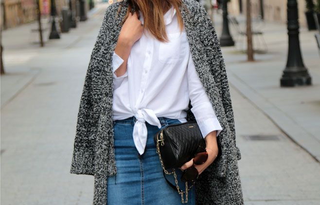 Falda denim y camisa blanca