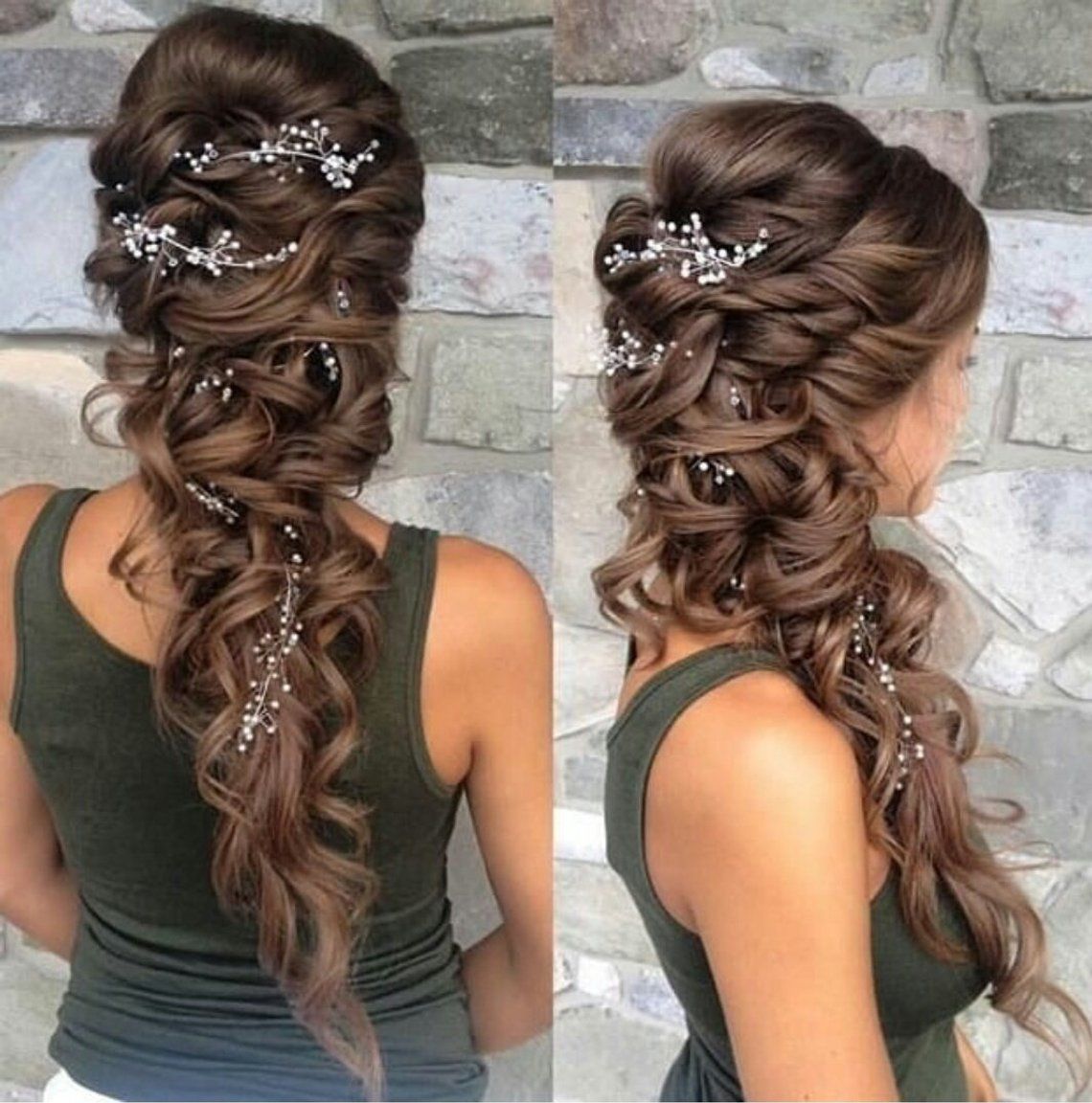 20 Gorgeous Wedding Hairstyles For Long Hair: Extra Long Hair Vine Extra Long Headpiece Wedding Hair