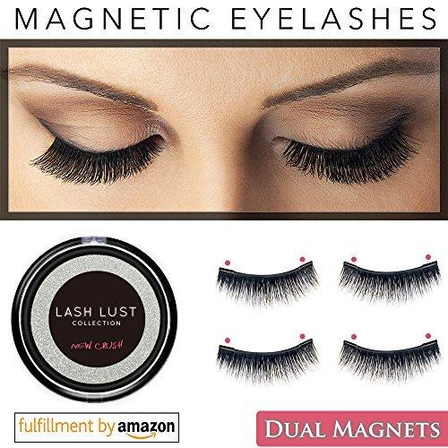 6375a4c014e LashLust False Magnetic Eyelashes Premium Set (4 Pcs). Dual Magnets, No Glue,  Magic 3D Fake Lashes Extension. Ultra Soft, Natural Look and Handmade.