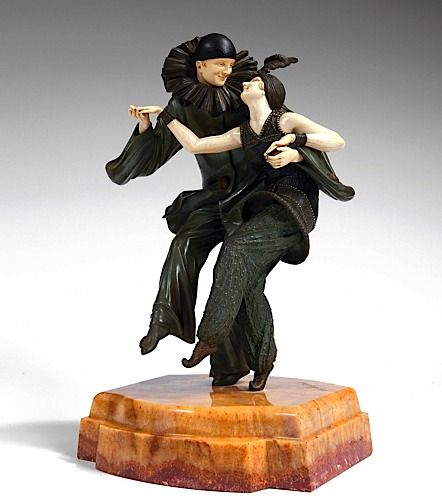"Demètre H. Chiparus (Romanian 1886 - 1947), Paris, Sculpture, ""Bal Costume"", Cold-painted, Patinated Bronze, Ivory and Onyx Base."