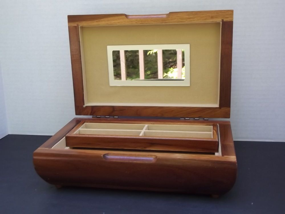 Vintage London Leather Solid Teak Wood Jewelry Box LondonLeather