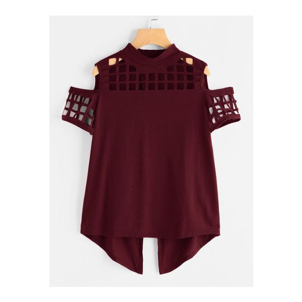 SheIn(sheinside) Open Shoulder Laser Cut Out Split Back Tee ($11) ❤ liked on Polyvore featuring tops, t-shirts, burgundy, short sleeve tee, summer t shirts, crew t shirts, sexy summer tops and short sleeve tops