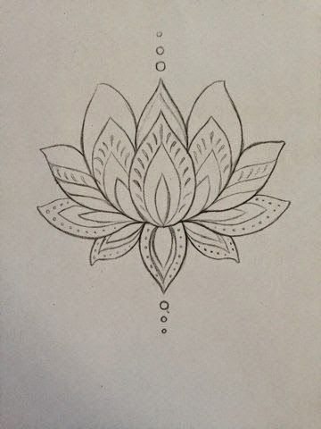 Cool Black Outline Lotus Flower Tattoo Design By Mmenjurag First
