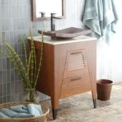 wood vanity top with copper sink - Google Search