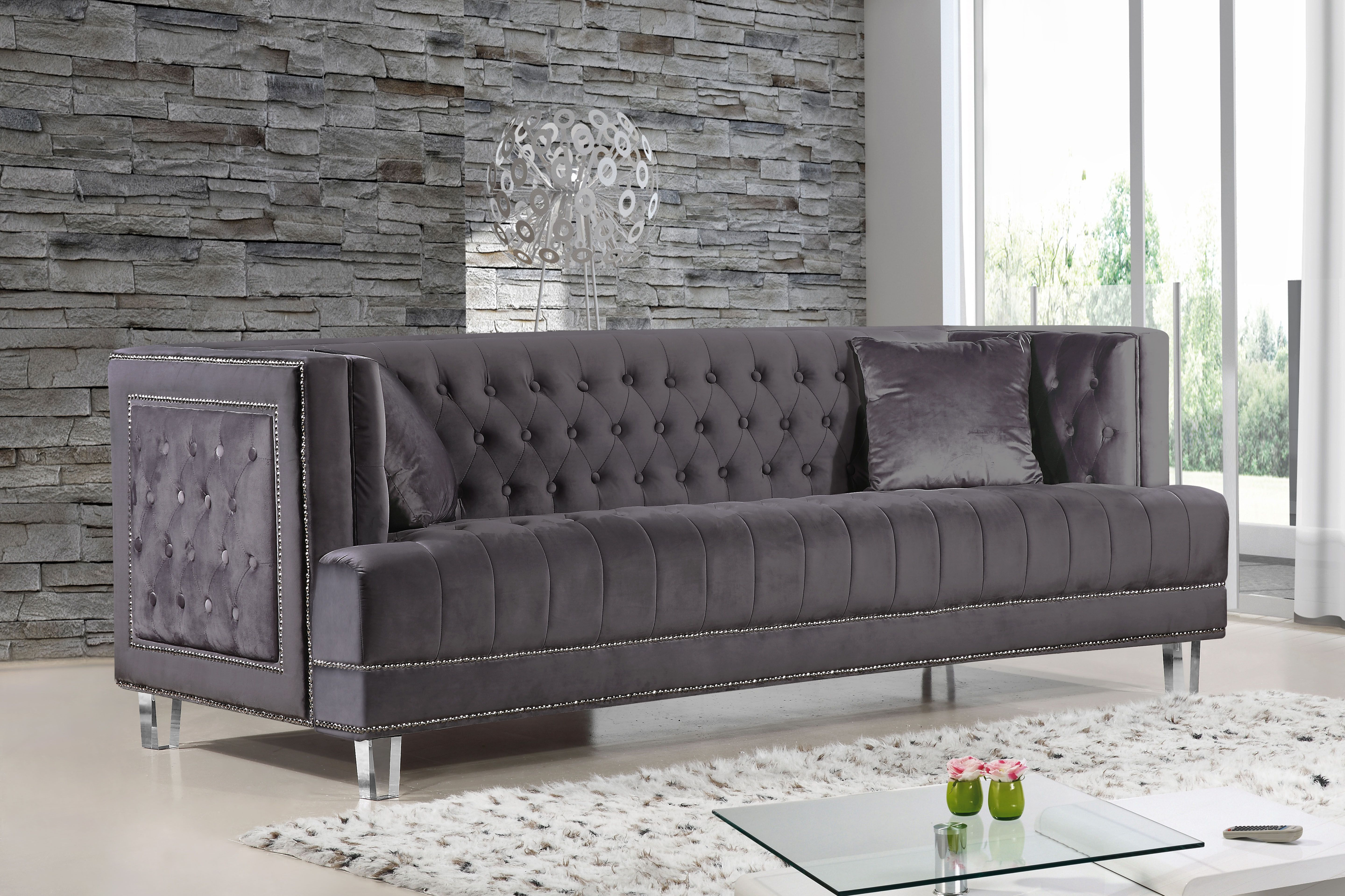 Meridian furniture a sofa with a modern twist the lucas sofa features tufted velvet upholstery with a unique boxy design