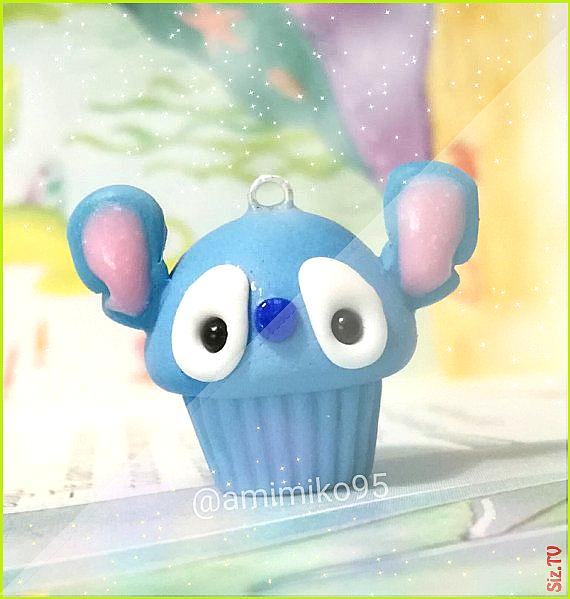 Kawaii Stitch Cupcake Charm Kawaii Cupcake Charm Kawaii Polymer Clay Charm Food Charm Baby Kawaii A