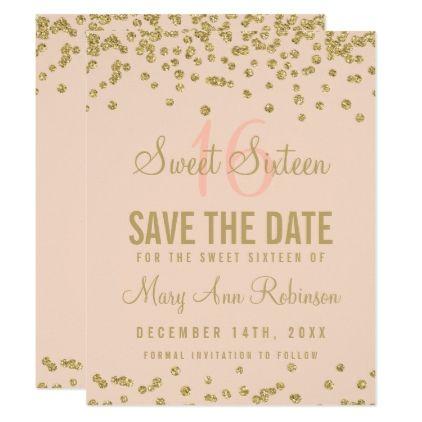 Sweet 16 Save Date Gold Glitter Confetti Blush Card Gifts Diy Customize Unique