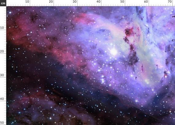 Carina Nebula Fabric - Carina Nebula (Edited, Blue) By Azizakadyri - Purple Galaxy Cotton Fabric By The Metre With Spoonflower