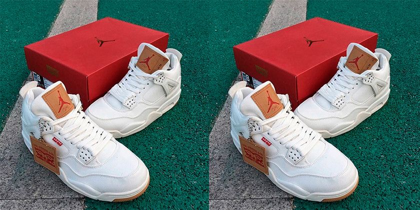 e90f38ec7dad15 Levis x Air Jordan 4 White Denim First Look  thatdope  sneakers  luxury