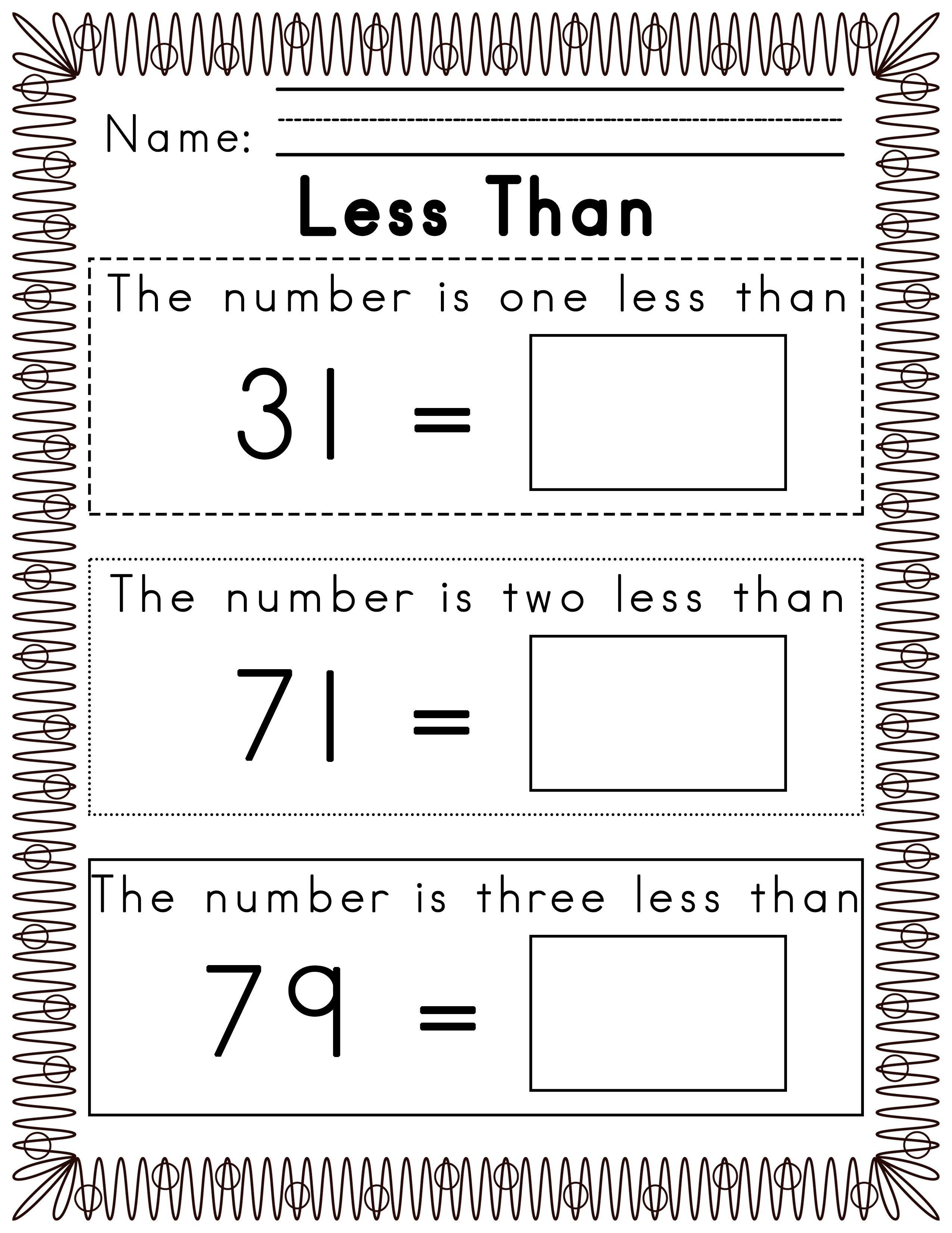worksheet One More Than Worksheets For Kindergarten worksheets for 100 hundred chart one two three less than printables