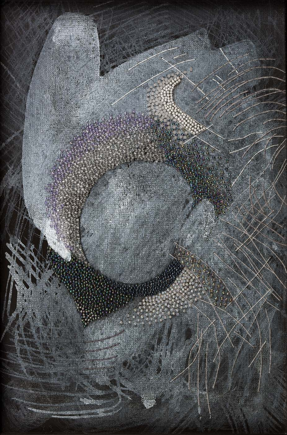 Karin Birch (b.1960), Night Sky (1997), linen, embroidery thread, glass  beads, and acrylic paint, 23.1 x 33.0 cm. Collection of Smithsonian American  Art ...