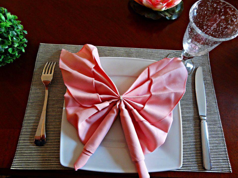 my butterfly napkin fold Napkin folding, Napkins