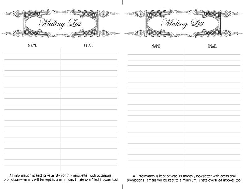 Free printable mailing list sign up sheet Craft and Jewelry - email signup template