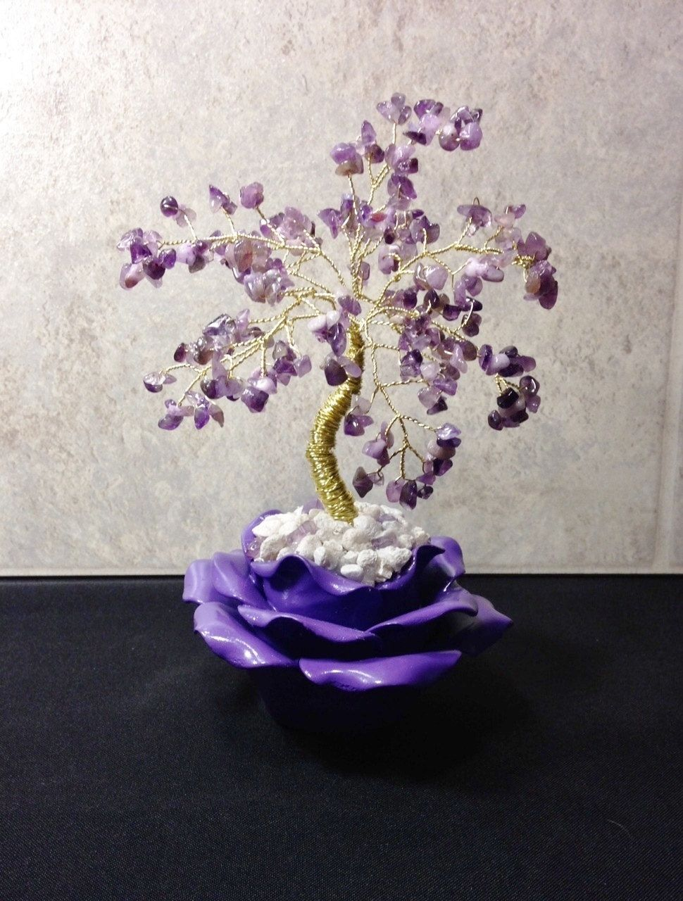 Amethyst crystal gemstone bonsai tree of life feng shui gemstone amethyst crystal gemstone bonsai tree of life feng shui gemstone tree purple amethyst gemstone tree of life in ceramic lotus flower pot by mycrystalforest izmirmasajfo Images