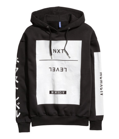 ee01f92759d4 Black hooded sweatshirt with white print on front & sleeves. | H&M Divided  Guys