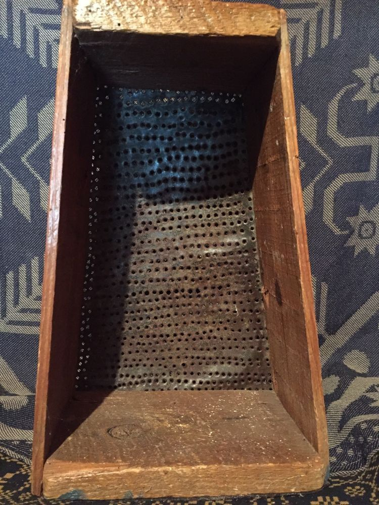 Large Antique Primitive Folky Hand Punched Tin Wood Box Frame Grater Mincer Aafa Punched Tin Box Frames Antiques