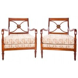 Vintage Empire Style Maison Jansen Chairs, Pair