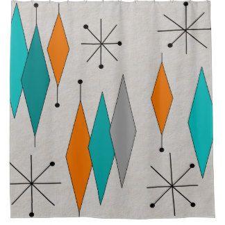 Mid-Century Modern Diamonds Teal Shower Curtain | sew inspiring ...