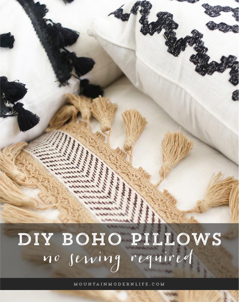 No Sew Diy Boho Pillows Boho Pillows Diy Boho Diy Diy Throw Pillows