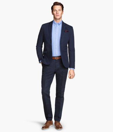 Light Blue Dress Shirt + Navy Blue Suit + Dark Tan Leather