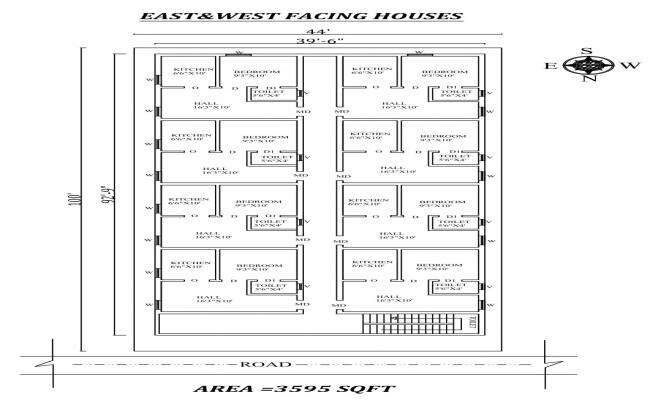 44 X100 Single bhk East and west facing row plex House Plan As Per Vastu Shastra Autocad DWG and Pdf file details
