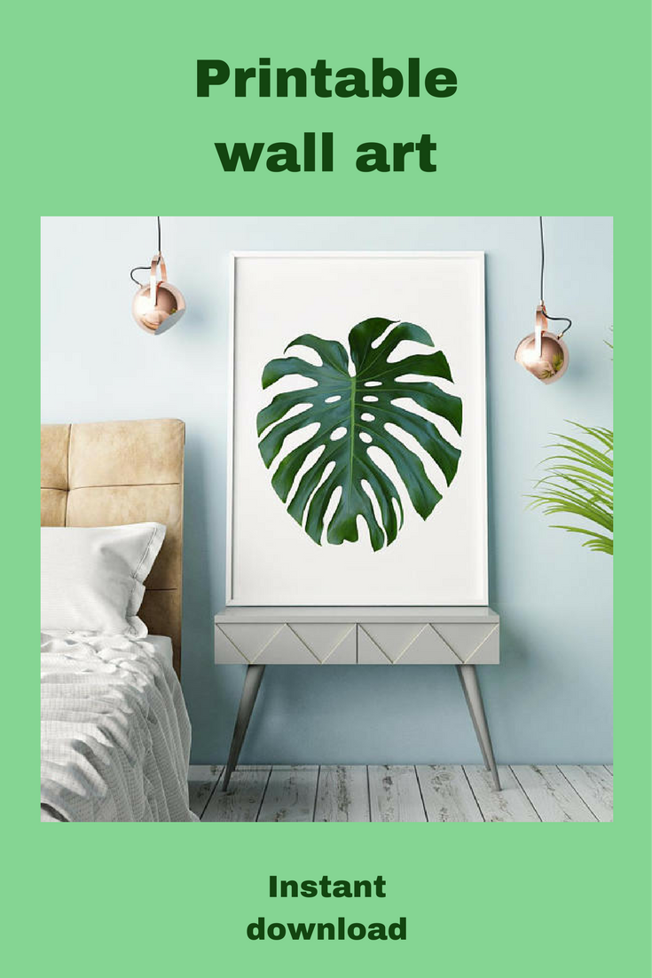 Monstera leaf print tropical wallart botanical garden art large