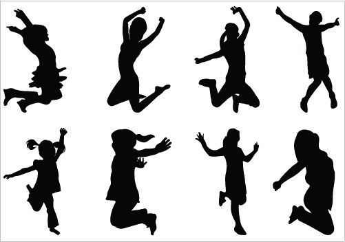 Kids Silhouettes Vector - Dancing - 25.6KB