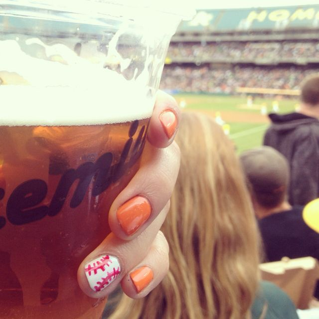 """Sf giants nails.  At least one of these nails needs an """"SF,"""" but this is a cute mani for game day."""