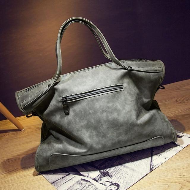 Bolish Rivet Vintage PU Leather Female Handbag Fashion Tassel Messenger Bag  Women Shoulder Bag Larger Top-Handle Bags Travel Bag 775a992736