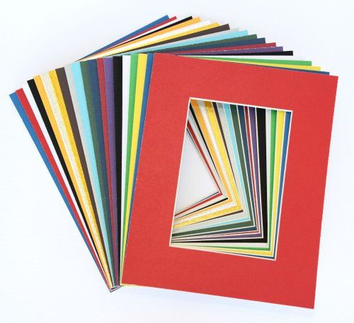 Pack of 20 Mat Board Center 8x10 MIXED COLORS White Core Picture Mats Mattes Matting for 5x7 Photo