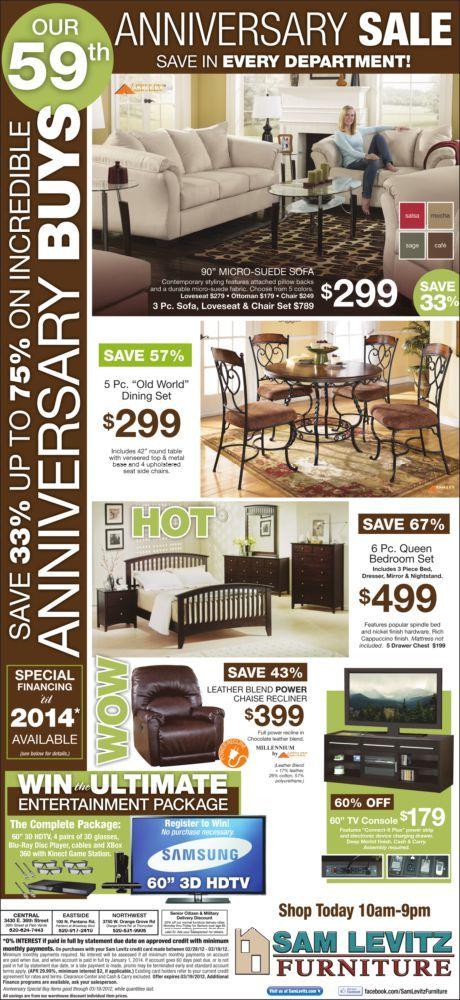Sam Levitz 3/2/12 Bedroom sets queen, Furniture ads