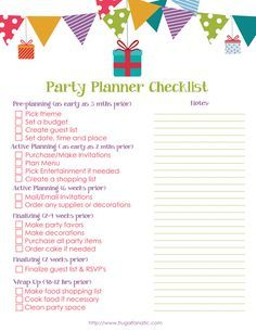 Print this free party planner printable to help you plan your next event!
