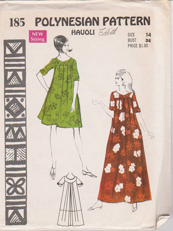 Polynesian UNCUT sewing pattern MuuMuu Hauoli sz 14 | moda de otras ...