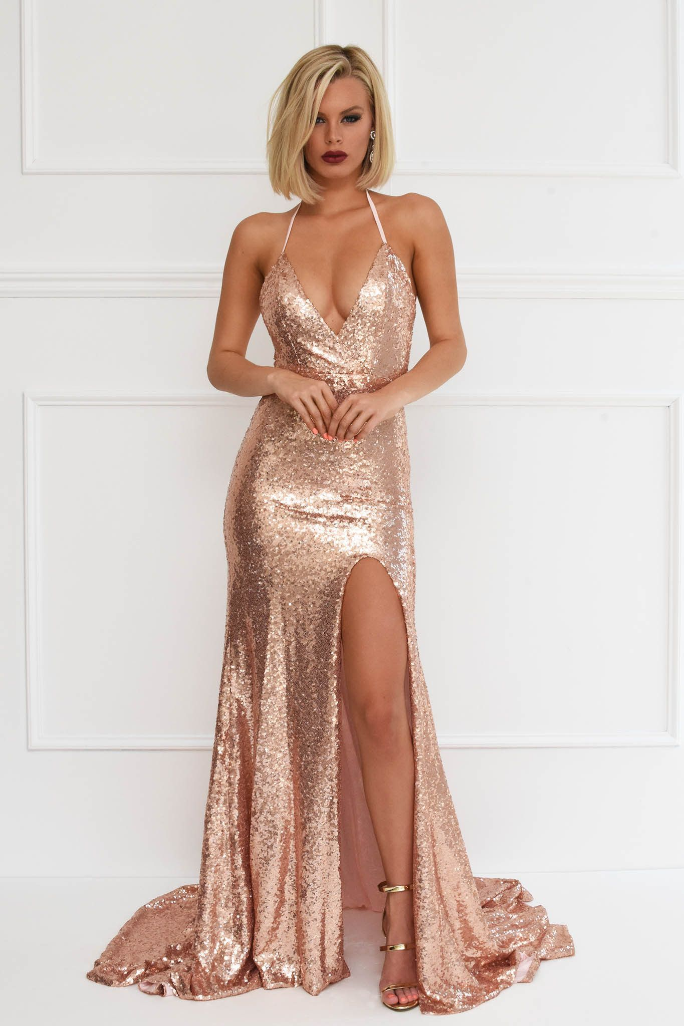 Rose gold sequin evening formal mermaid gown with high front leg