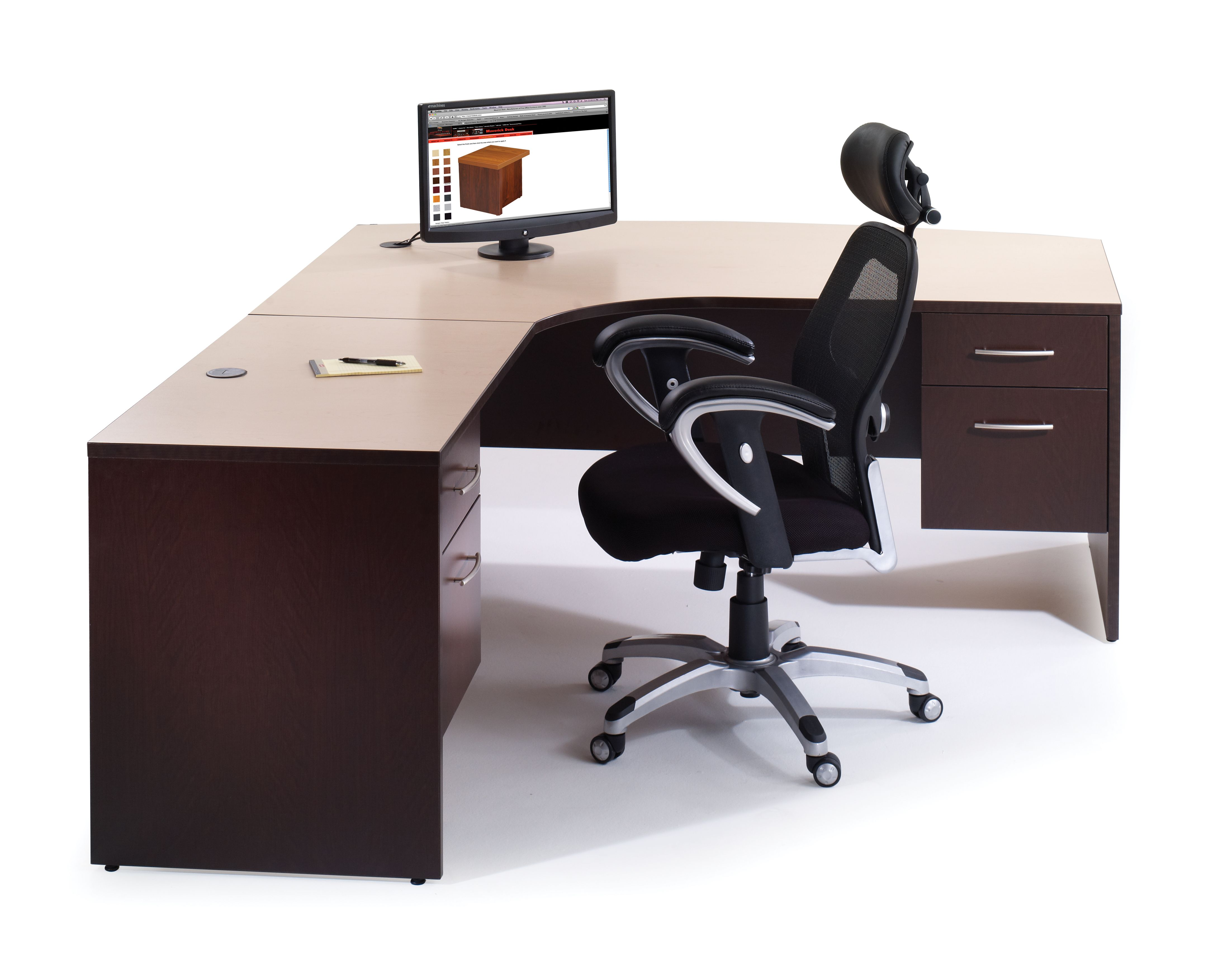 Trendy Brown Plywood Office Curved Desk With L Shaped Style 4 Drawer And  Black Vinyl