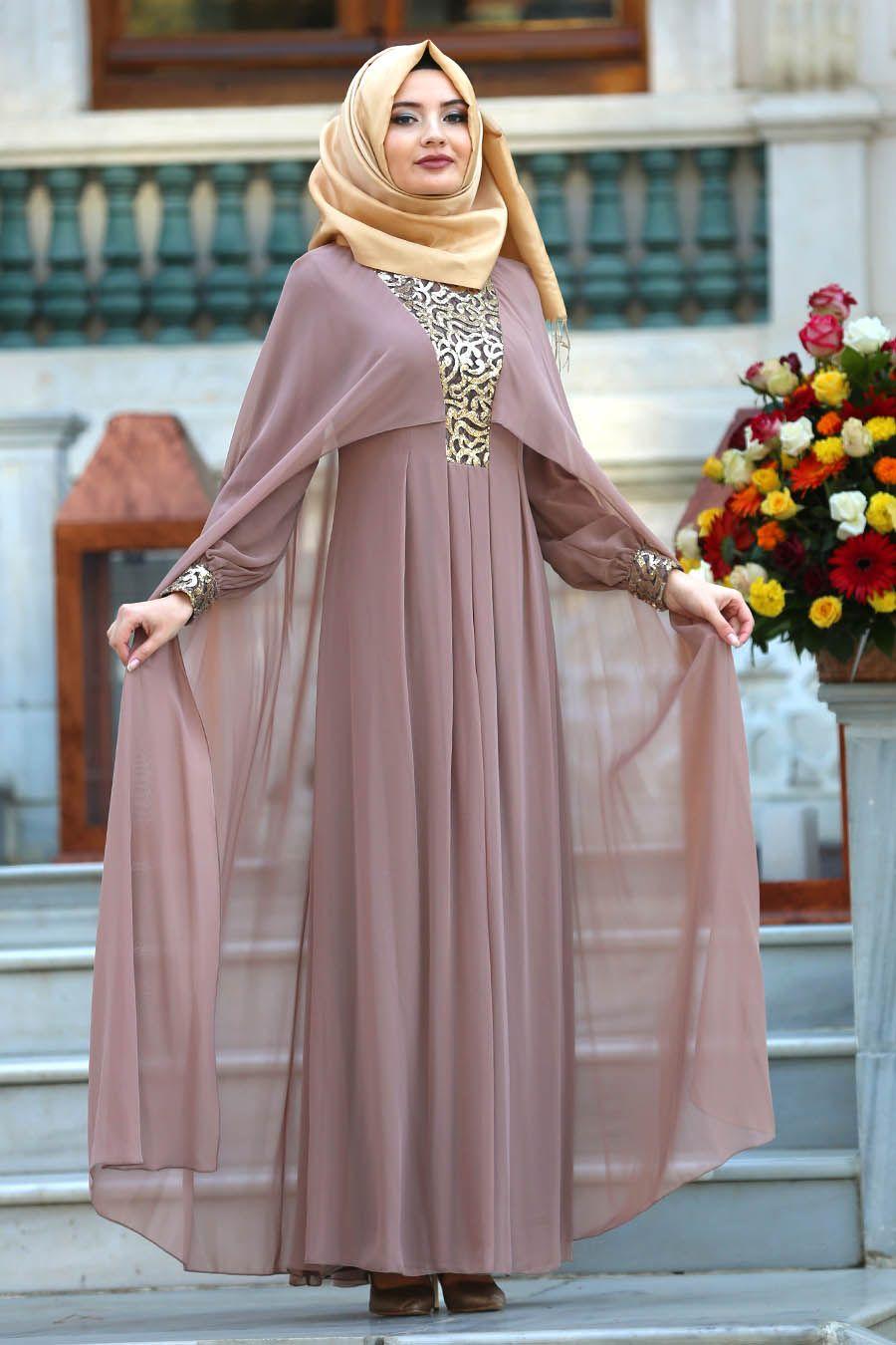 2018 Yeni Sezon Abiye Koleksiyonu Neva Style Pelerinli Pul Payetli Vizon Tesettur Abiye Elbise 52551v Elbise Giyim Abaya Modasi