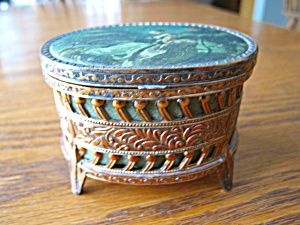 Vintage Japanese jewelry box with satin lining and fabric top for