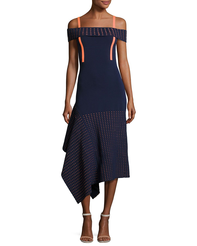 Asymmetric Off-the-Shoulder Mesh-Trim Dress, Navy