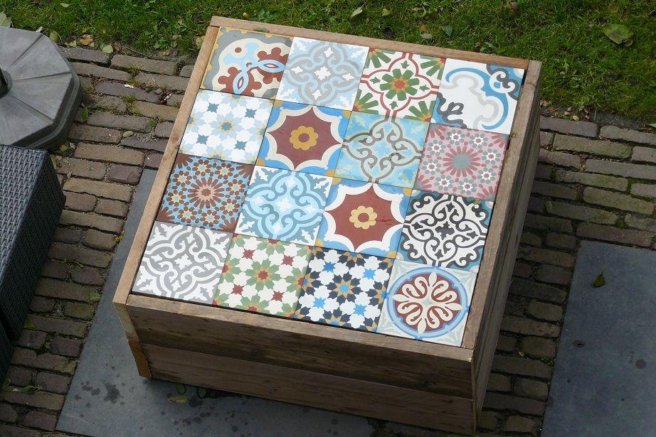 Iets Nieuws Zelf gemaakte Salontafel voor buiten met patchwork van &UN15