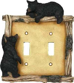 Black Bear Double Switch Plate Cover