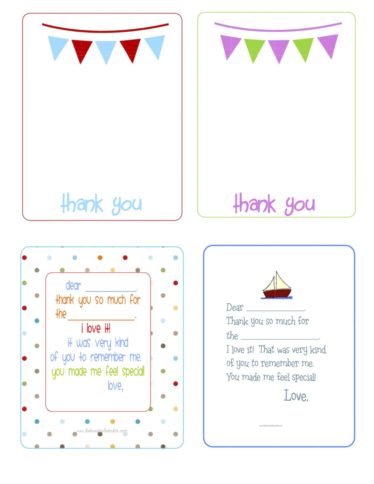 printable birthday thank you cards - | printables & fonts