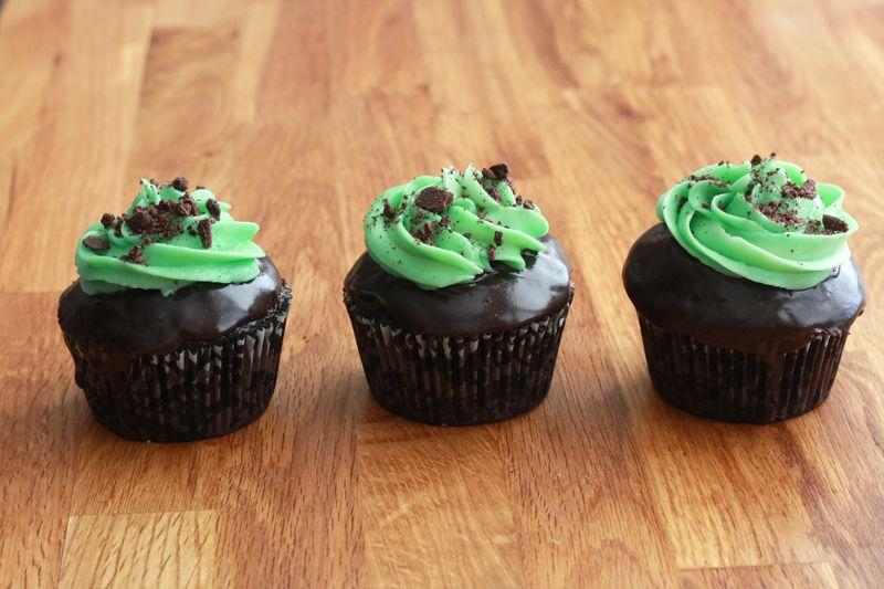 Dark Chocolate Mint Cupcakes. #food #cupcakes St_Patricks_Day #Christmas
