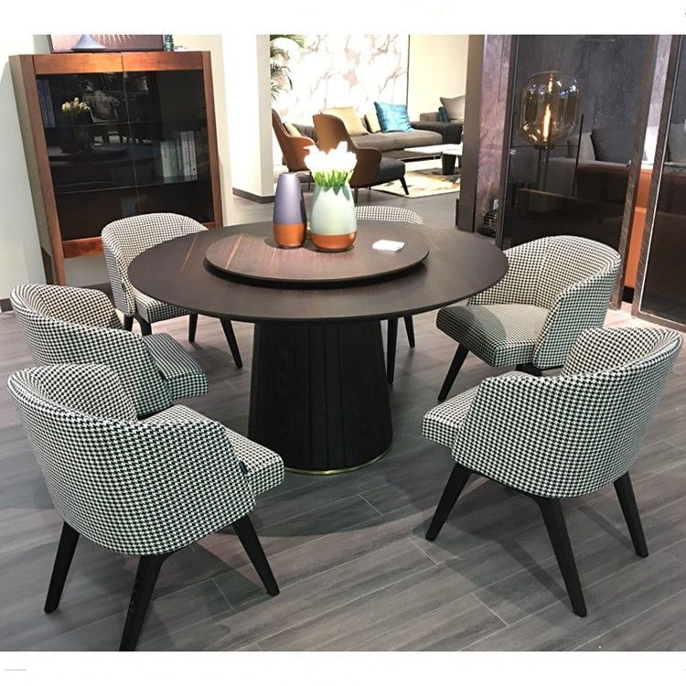 Modern Italy Designer Round Wooden Dining Table Set 6 Chairs View