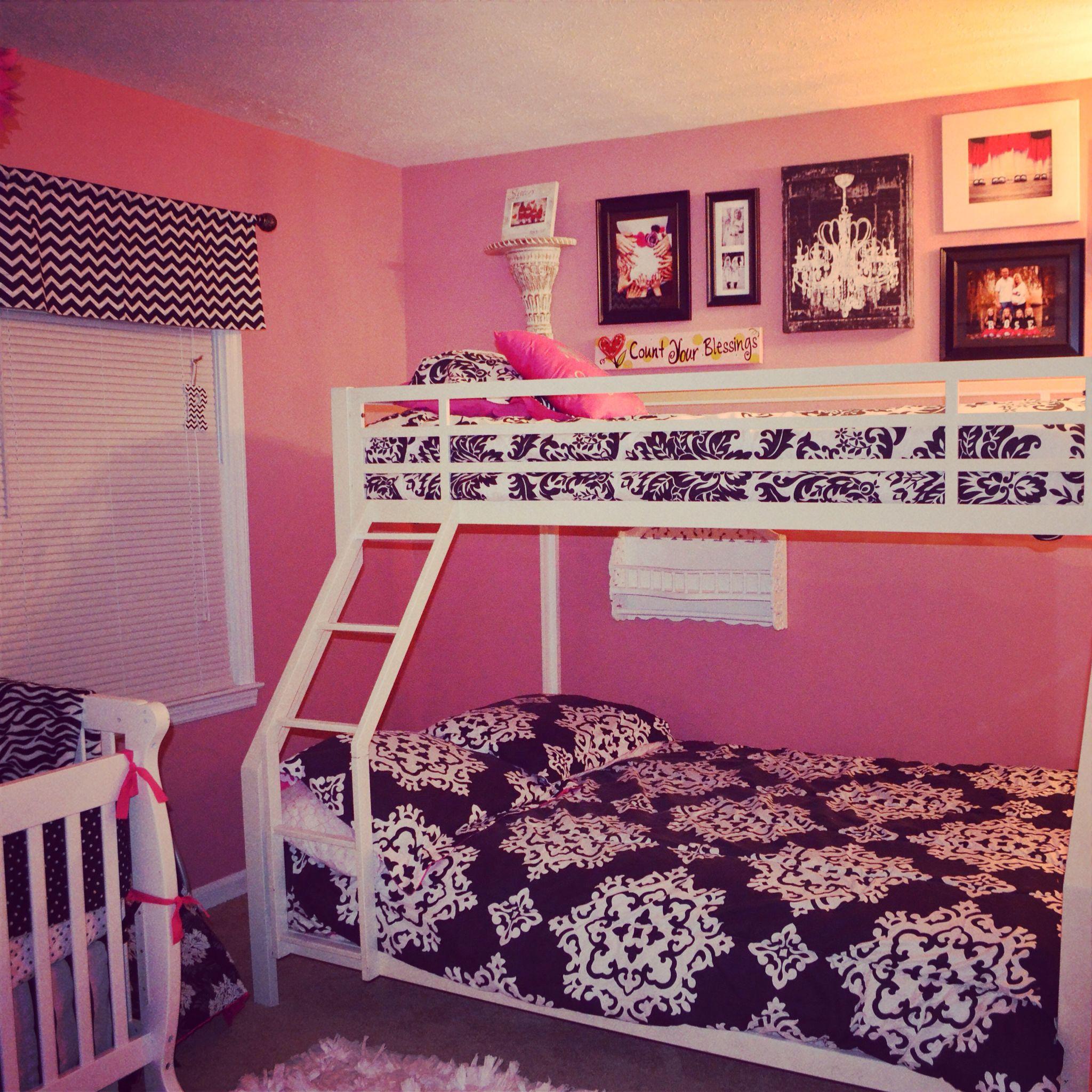Black, White U0026 Pink, Damask U0026 Polka Dot Shared Nursery / Bedroom For Baby.  Girls Bedroom DecoratingGirl Bedroom DesignsBedroom Ideas10 Year Old ...