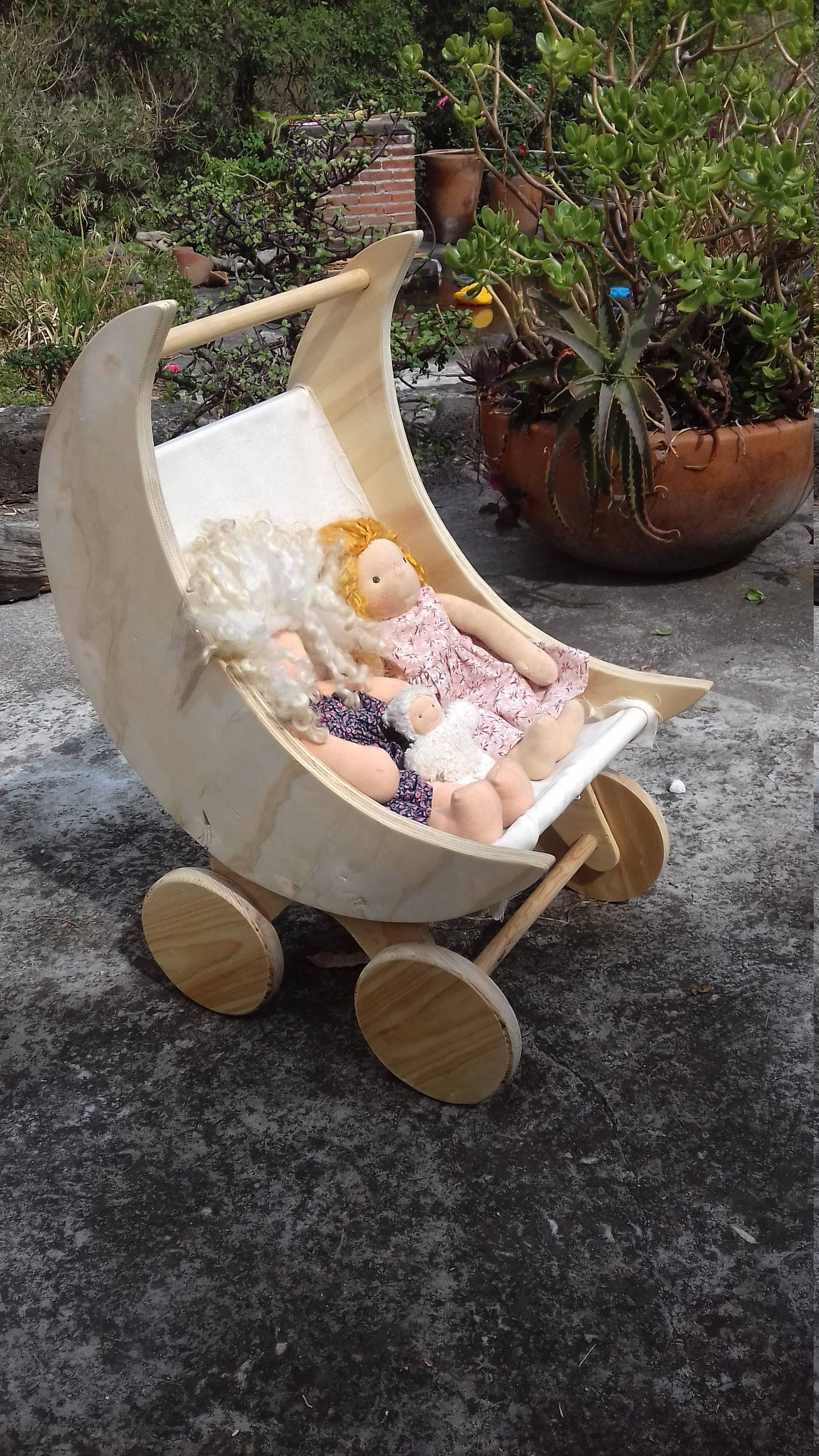 Moon Doll stroller / Toddler Wooden Doll Pram / Wooden